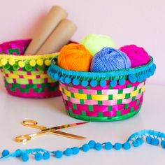 Turn $1 Easter baskets into colorful boho-inspired storage in under 5 minutes!