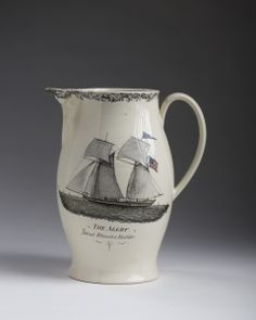 Liverpool creamware pitcher ~ the ship Alert