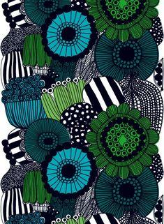 Siirtolapuutarha-vahakangas (valkoinen, vihreä, musta)  Kankaat, Vahakankaat   Marimekko