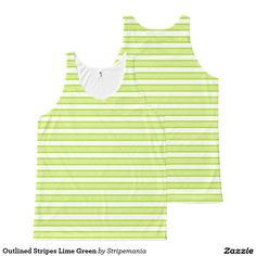 Outlined Stripes Lime Green All-Over-Print Tank Top