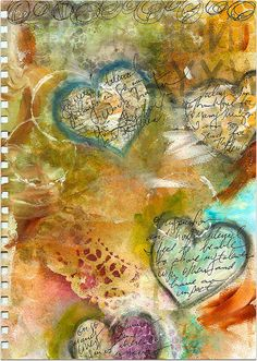 Another beautiful art journal page - love the handwriting over the hearts.