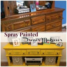 Easy DIY Dresser Makeover with Spray Paint!  It's super easy to do and looks fantastic when finished!   The Happy Housewife