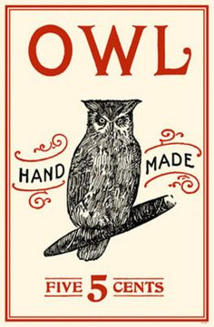 Owl hand made cigars vintage poster
