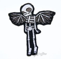 Gothic Skeleton with Angel Wings Iron On Embroidery Patch MTCoffinz - Choose Size Iron On Embroidery, Embroidery Patches, Embroidered Patch, Embroidered Clothes, Embroidery Ideas, Cool Patches, Pin And Patches, Cool Skeleton, Gothic Angel