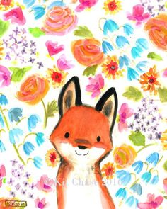 Add a Bohemian splash of color to your little fox's room with this sweet, hand-painted print! - art print from an original watercolor, gouache, and acrylic painting by Kit Chase. - archival matte pape