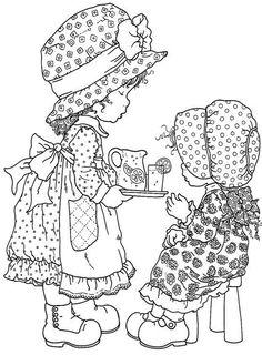 Sarah Kay Coloring Pages - Educational Fun Kids Coloring Pages and Preschool Skills Worksheets Cute Coloring Pages, Printable Coloring Pages, Coloring For Kids, Adult Coloring Pages, Coloring Books, Coloring Sheets, Holly Hobbie, Sara Kay, Digital Stamps