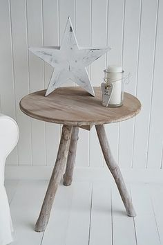 Driftwood Side or Lamp Table. Coastal style bedroom furniture. New England, Scandi, Danish and French style living room furniture from The White Lighthouse