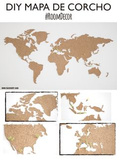 Cork world map for wall Cork World Map, World Map Art, Diy Tumblr, Decorate Your Room, Do It Yourself Home, Diy Art, Diy And Crafts, Diy Projects, Paint Headboard