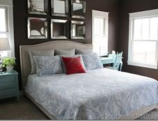 Find out how ceiling medallion wall art for bedroom makeover looks in this recent feature. With brown walls, white trim and colored furniture, this room is really nice to look at. Dream Bedroom, Home Decor Bedroom, Master Bedroom, Bedroom Ideas, Headboard Ideas, Diy Bedroom, Dream Rooms, Mirror Over Bed, Tan Paint Colors