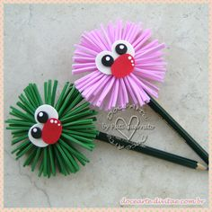 Ponteiras Divertidas - Kit com 10 unidades Pencil Topper Crafts, Pencil Crafts, Pencil Toppers, Crafts To Sell, Diy And Crafts, Crafts For Kids, Arts And Crafts, Foam Crafts, Paper Crafts