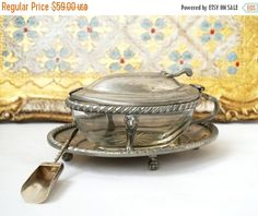 christmas sale Antique Pewter Sugar Bowl and by millyscollection