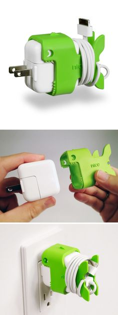 Nibbles the Fish cable holder // cute way to organize your charger cord! Nice! #product_design