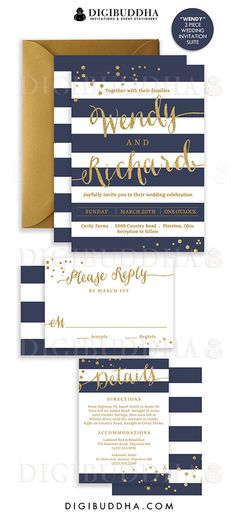 Elegant modern navy & gold stripe wedding invitations in a 3 piece suite including RSVP reply card and Details / Info enclosure card. Coordinating backers, gold glitter confetti sparkle details. Color envelopes, envelope liners and belly bands also available. digibuddha.com