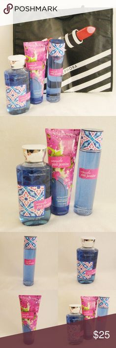 BBW Seaside Pink Jasmine Bundle+ FREE Sephora Bag Bath& Body Works Seaside Pink Jasmine Bundle plus FREE Sephora Shopping Tote Bag . New. Unused. Get swept away to a beautiful coast of sparkling blue waters, seaside blooms and fresh ocean breezes. Includes:  ~ 8fl oz/236ml Fragrance Mist ~ 8fl oz/226g Ultra Shea Body Cream ~ 10fl oz/295ml Shower Gel ⚜❌SWAP❌TRADE ⚜✔️❤️Bundles📦 ⚜✔️Clean/Smoke-free/pet-free home Bath & Body Works Makeup