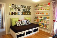 Corner Reading Nook Design Idea Featured Long White Wall Book Shelving And Large Bench With Storage Underneath