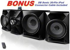 Sony 700 Watt Ultimate Hi-Fi Stereo Sound System with MP3 CD Player, AM & FM Radio, 30 Preset Stations, Remote Control, Digital Time Display, Alarm Clock, Sleep Timer, Child Lock, 8 Band Equalizer, Bass Boost, Powerful 230 Watt Subwoofer, 2-way Bass Reflex Speakers, Auxiliary Input Jack, Lightning Dock & USB Input to Play & Charge all iPods, iPhones, iPads & Other Audio Devices or Record to Flash Drives *BONUS* DB Sonic iPod Connector Cable Included Sony ...