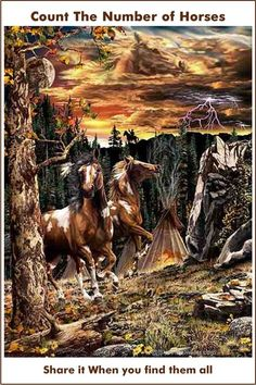 Count the number of horses picture riddle Hidden Art, Hidden Images, Hidden Pictures, Hidden Pics, Optical Illusions Pictures, Illusion Pictures, Painted Horses, Native American Horses, Horse Artwork
