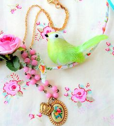 Love the necklace, birdie, fabric, colors!