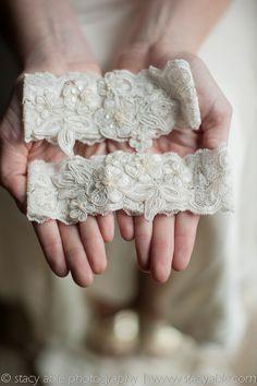 garter made from mom's wedding dress. something old/borrowed