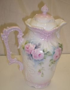 Antique Porcelain Chocolate Pot Sweet Pink Roses Hand Painted China