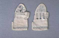 Infant's mitts - 1767 - 1768, These mitts are reportedly the Christening mitts worn by Major John Russell (1767-1839) of Deerfield, Massachusetts. Made out of linen, each mitt is decorated with blue silk embroidery. The three vertical lines of embroidery on the outside of the mitts resembles the stitching used to fit adult leather gloves. Their purpose on these mitts is purely decorative.