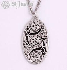Lindisfarne Spirals Oval Pendant Necklace