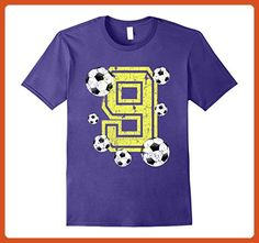 Mens 9th Birthday Soccer Fan T-Shirt Gift for Girls and Boys XL Purple - Sports shirts (*Partner-Link)