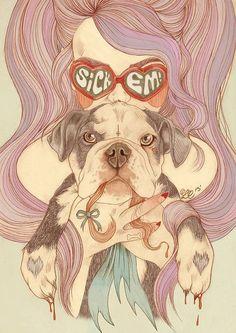 Heart #Heart #Illustration #English #Bulldog #Awesome