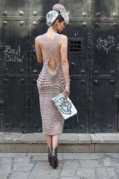 Crochet popcorn stitches at the hips! Striking silhouette and stitch textures for this crochet dress. Knitwear Fashion, Knit Fashion, Love Crochet, Knit Crochet, Knitting Designs, Crochet Clothes, Crochet Dresses, Knit Dress, Editorial Fashion