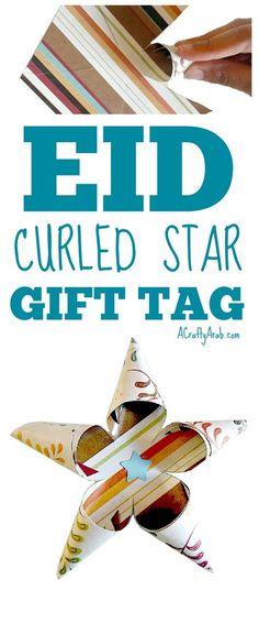 A Crafty Arab: Curled Star Eid Gift Tag {Tutorial}. Our community is putting on a Ramadan toy gift drive. We have started collecting the toys to wrap and I thought it might be nice to add a little extra touch with handmade curled star tags. Supplies Ruler Scissors 5 ½ x 5 ½ square double sided cardstock Star punch Small piece of solid blue …