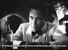 "Humphrey Bogart as Rick Blaine in ""Casablanca"" (1942)."