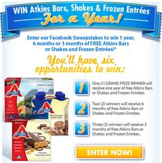 Enter for a chance to WIN Atkins Bars or Shakes And Frozen Entrées For A Year! Ends 1.30.14  NEW TO ATKINS? Grab a FREE Sample Kit in my post!! ~on CouponCrazyFreebieFanatic.com  #Atkins #Sweepstakes