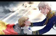 Gilbert and young Ludwig - Art by おぶー I can just hear him saying how awesome Ludwig is going to grow up to be. *feels*