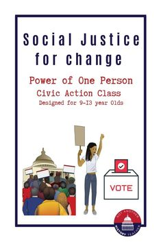 This is an Amazing one time class to learn about social justice and how you can positively affect our community! Designed to get kids 9-13 civically engaged!
