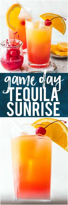 This GAME DAY TEQUILA SUNRISE is tailor made for tailgating! Made with Orange Juice, Grenadine, Tequila, and Beer, this fun cocktail is loved by all and an awesome way to start the day cheering for your favorite team. The ultimate brunch cocktail! #tequila #cocktail #cheers #gameday #superbowl #tailgate #orangejuice #drink #beverage via @beckygallhardin