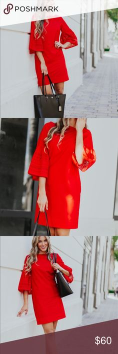 Red Dress Beautiful Red dress for sale brand new with tags. Very elegant Lauren Ralph Lauren Dresses Midi
