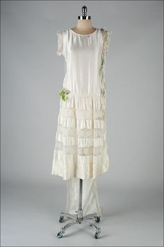 1920s Ivory Silk Wedding Dress with Train (that attaches to the shoulders in back).