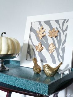Painted craft store leaves make easy DIY art for fall!
