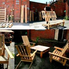DIY pallet patio furniture. I really like the chairs in this one.