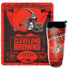 Cleveland Browns Travel Mug and Throw Blanket Gift Set