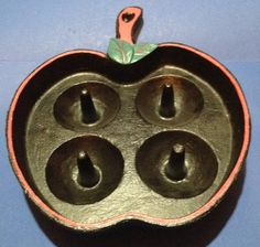 Cast Iron 4 Apple Baker Apple Shaped Painted Baking Pan Bake  Ware $21.99 Cast Iron Frying Pan, Cast Iron Pot, Cast Iron Dutch Oven, Cast Iron Skillet, Cast Iron Cooking, Cast Iron Cookware, It Cast, Bundt Pans, Cookware Accessories