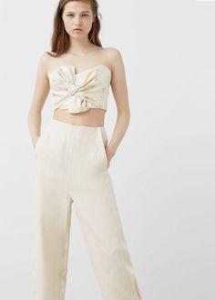 50€ Premium - pantalón baggy lino - Pantalones de Mujer   MANGO España