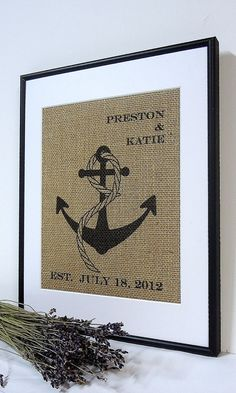 Personalized Burlap Nautical Wedding Gift // Custom Wedding Present // Shower Gift // Anniversary Gift // Anchor Art Print // Housewarming on Etsy, 15,44 €