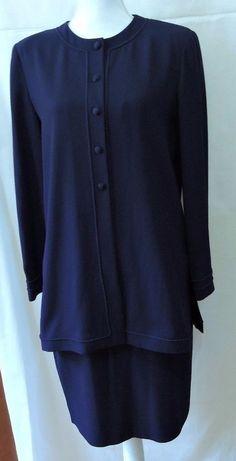 Liz Claiborne Women Navy Two Piece Set Size 8 #LizClaiborne #SkirtSuit
