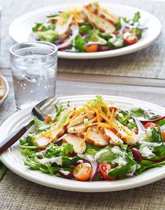 In a salad rut? Treat yourself to a fresh, light salad recipe that balances delicious, crunchy vegetables with the protein of chicken breast. With a little bit of cheddar cheese and dressing, it'll feel like an indulgence! Save time by using pre-cooked chicken, or grill or broil the chicken yourself and plan a little extra time to let it cool.