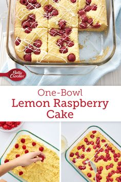 Bright-colored and beautiful, this lemony cake is proof that an eye-catching dessert doesn't have to be complicated. Cake Mix Recipes, Baking Recipes, Dessert Recipes, Cake Mixes, Bakers Gonna Bake, Raspberry Cake, Glass Baking Dish, Banana Pudding, Cupcake Cakes