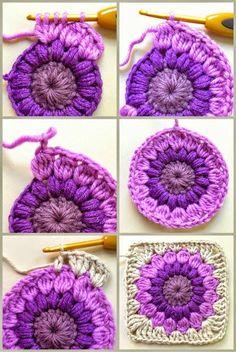 Transcendent Crochet a Solid Granny Square Ideas. Inconceivable Crochet a Solid Granny Square Ideas. Crochet Squares, Point Granny Au Crochet, Crochet Motifs, Crochet Blocks, Crochet Afghans, Crochet Cushions, Crochet Pillow, Tunisian Crochet, Blanket Crochet