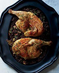 Cast-Iron Roast Chicken with Lentils and Walnut Vinaigrette | Food & Wine
