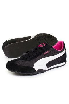 Puma - 76 Runner Satin Jacquard Sneakers in Black & White