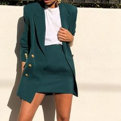 Skirt Suit Jacket Spring Suit Vintage Green Blazer Office - Business Outfits for Work Trend Fashion, Work Fashion, White Fashion, Fashion Fashion, Fashion Design, Womens Fashion, Fashion Ideas, Fashion Beauty, Fashion Coat